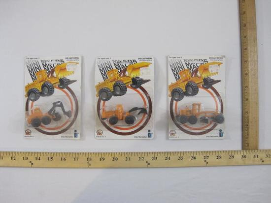 Three Zee Intex Recreation Die Cast Metal Mini Macks with Moving Parts, Motor Grader, Bulldozer and