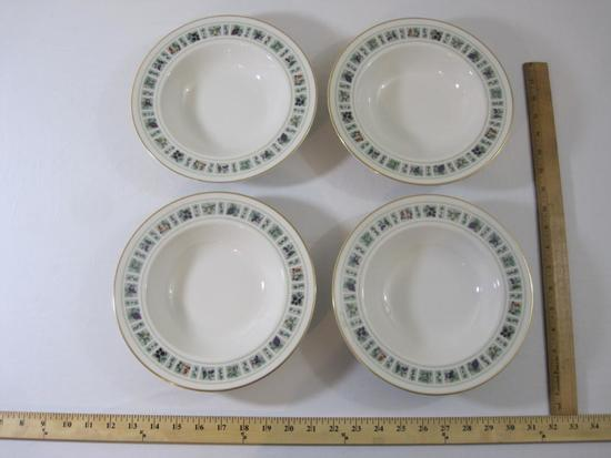 "Set of 4 Royal Doulton Tapestry Fine China Soup Bowls, 9"" diameter, excellent condition, 3 lbs 5 oz"