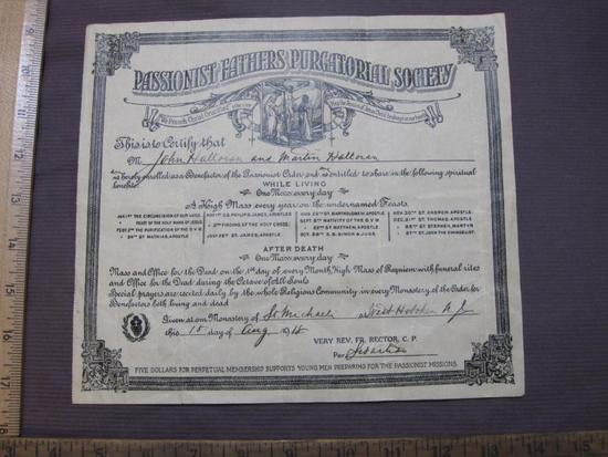 1918 certificate from the Passionist Fathers Purgatorial Society, at St. Michael's Monastery in West