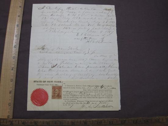 Nineteenth Century handwritten document notarized by New York State, Chautauqua County Clerk's