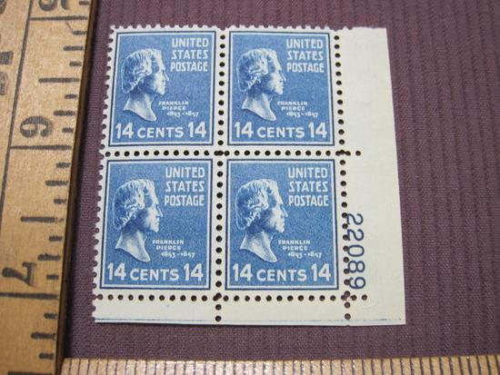 Block of 4 1938 Franklin Pierce 14 cent US postage stamps, #819