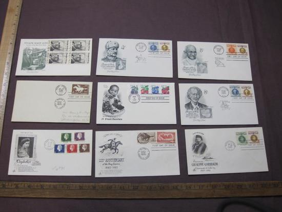 1960's First Day Covers, including Pony Express, Adolph Simon Ochs, Queen Elizabeth II, Gandhi and