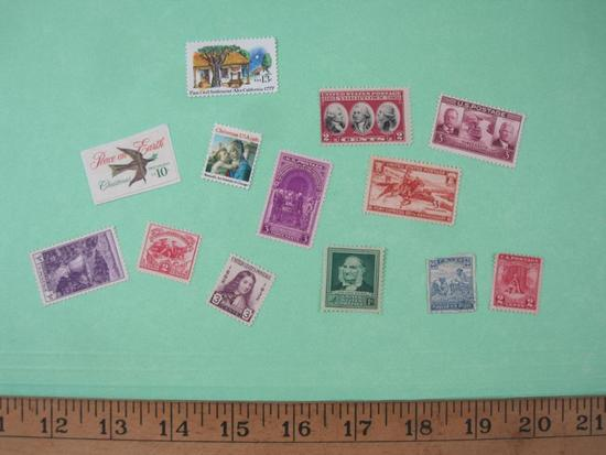 Lot of 13 US Postage Stamps including Pony Express 3-cent, 1932 William Penn 3-cent (Scott #724) and