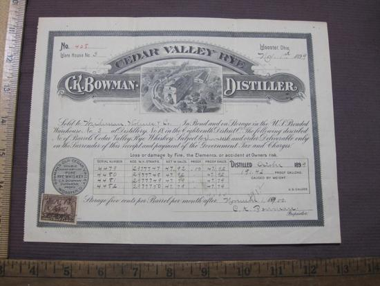 1899 sales certificate for barrels of Cedar Valley Rye Whiskey, from C.K. Bowman Distiller in