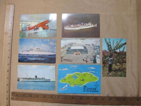 Postcards from the Bahamas and Naval Postcards including S.S Brazil.