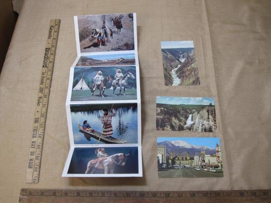 Postcards including Indians of America and YellowStone National Park