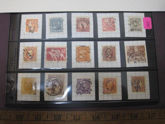 Stamps from Sweden, 1890's through 1930's, Bredbyn, Bjorkfors, Bettna, Bastad and others, 2oz