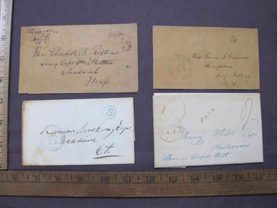Correspondence from Connecticut with 5 cent paid stamps, various colors dating from approximately