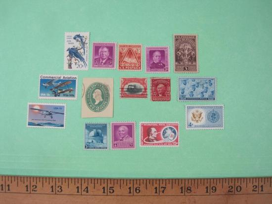 Lot of Vintage Stamps including Commercial Airmail 13-cent (Scott 1684), 1940 State of Wyoming 50th