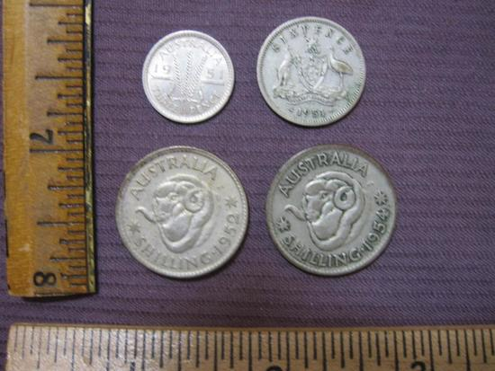 1950s Australia coin lot: 1951 Silver Three Pence; 1951 50 percent Silver Six Pence; 1952 Silver