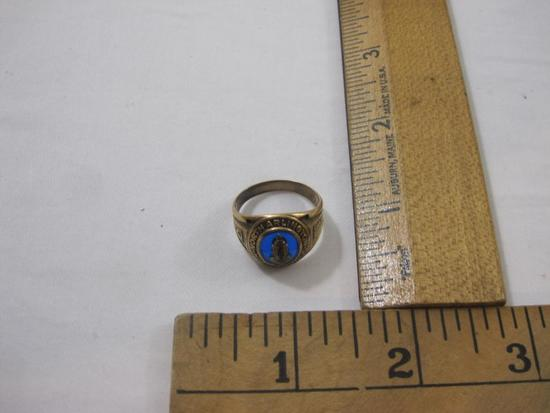 Vintage 10K Gold Class Ring North Arlington High School 1945, blue gemstone, size 8 1/2, 6.7 g total