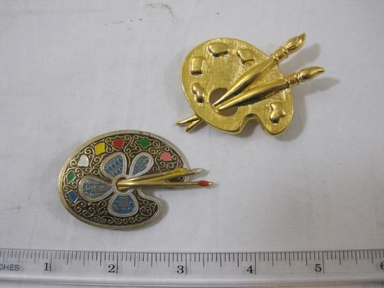 Two Artists Palette Pins, one marked Japan, 2 oz