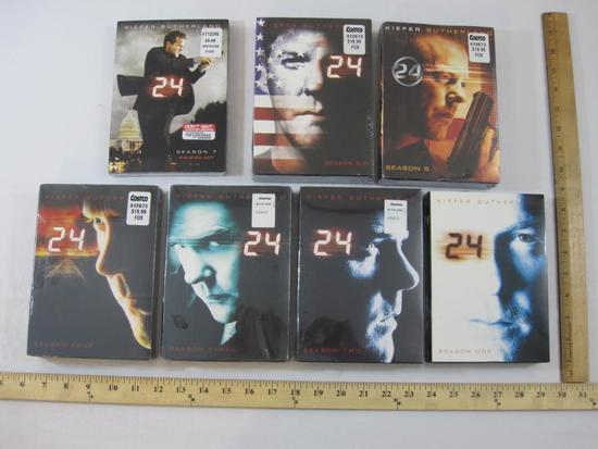 Seven Seasons of 24 Starring Kiefer Sutherland DVDs, all are sealed except season 1 which is