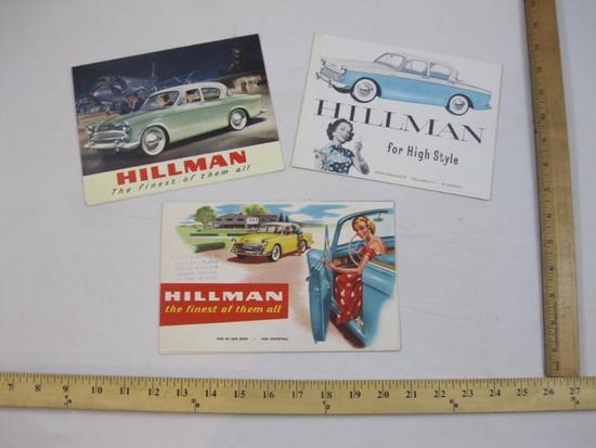Three Vintage 1950s Hillman Sales Brochures/6-Panel Foldout Posters 1957-1959 Minx De Luxe Sedan and