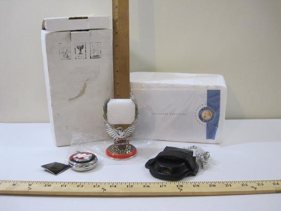 Franklin Mint Harley Davidson Pocket Watch with Eagle Stand, in original box, 1 lb 6 oz