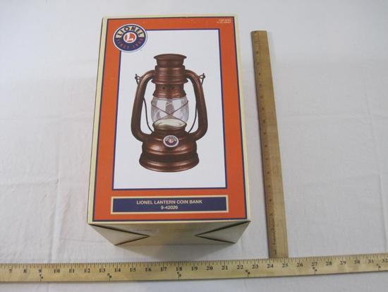 Lionel Lantern Coin Bank 9-42026, in original box, 2 lbs 7 oz