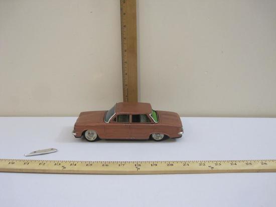 Bandai Tin 4 Door Brown Corvair Model Car, made in Japan, 11 oz