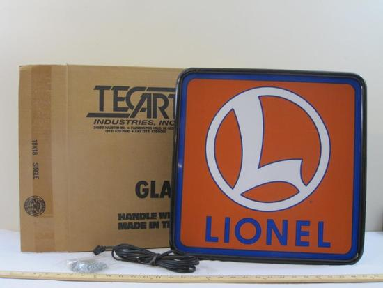 Lionel Plastic Logo Backlit Sign, new in box, TecArt Industries, 4 lbs 6 oz