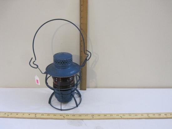 Vintage Dressel NJC New Jersey Company Railroad Lantern, blue with red globe, 2 lbs 6 oz