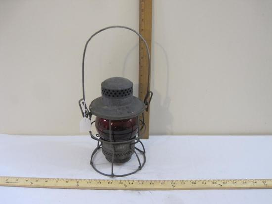 Vintage Adlake Kerosene Railroad Lantern with Red Globe, EL (Erie Lackawanna RR), 2 lbs 2 oz