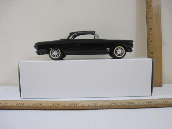 1961 Black Chevrolet Corvair 2-Door Coupe Promo Model Car with cream and black interior, 6 oz