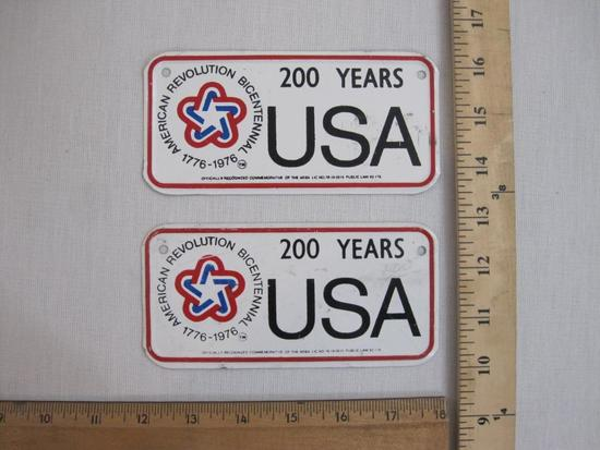 Two Small American Revolution Bicentennial 200 Years USA Metal License Plates, 2 oz