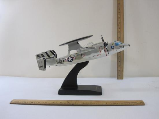 E-2C Hawkeye USS Constellation NAVY 1/48 Scale Wood Model Aircraft with Display Stand, in original