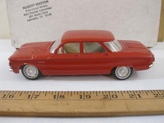 1961 Red Chevrolet Corvair 4-Door Sedan Promo Model Car with cream interior, Robert Maston