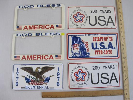 Four Patriotic US Bicentennial License Plates and 2 Plastic God Bless America Plate Holders, Spirit
