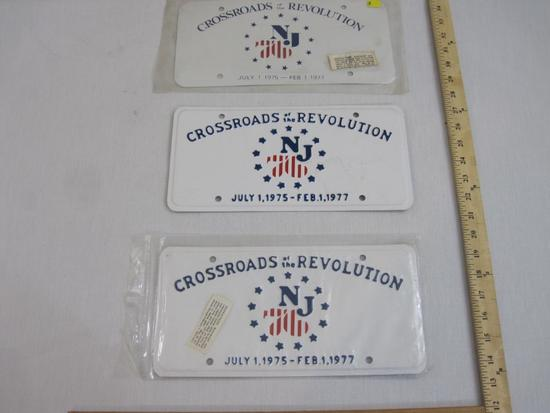Three Crossroads of the Revolution July 1 1975-Feb 1 1977 Metal License Plates, 2 embossed, 10 oz