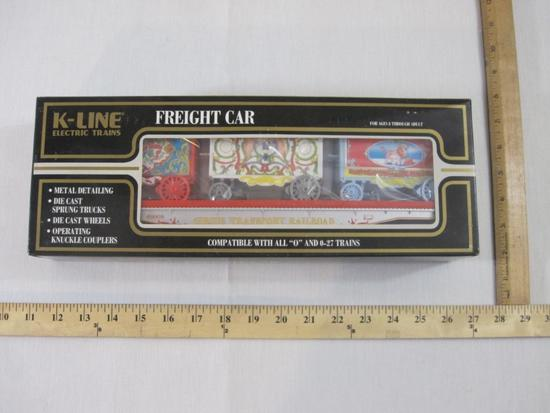Circus Transport Railroad Flat Car with 3 Wagons, O Scale, K-69009, K-Line Electric Trains, new in