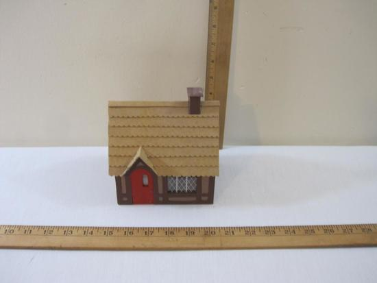 House for Train Display, thin wood and cardboard construction, AS IS (missing 1 window), 5 oz