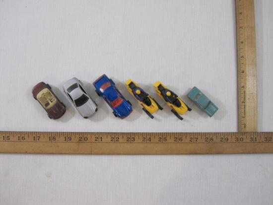 Lot of 6 Matchbox, Hot Wheels, and Miniature Cars including 2 snowmobiles, 1981 Thunder Burner and