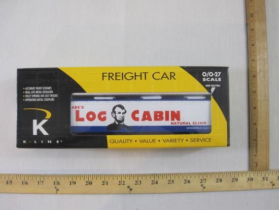 K-Line Honest Abe's Log Cabin Elixir Closed Vat Car K675-8013, O/O-27 Gauge, K-Line Electric Trains,