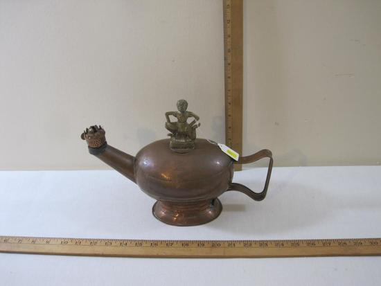 Vintage Copper Oil Lamp with Ornate Brass Lid, 1 lb 4 oz