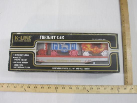 Circus Transport Railroad Classic Flat Car w/ Wagons, O Scale, K-69002, K-Line Electric Trains, new