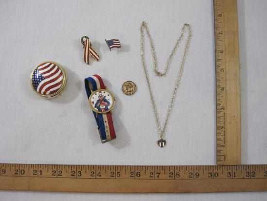 Lot of Patriotic Jewelry Items and Accessories including pill box, Uncle Sam Pillbox, Sterling