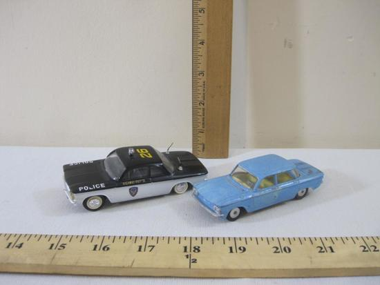Two Diecast Chevrolet Corvairs including Elicor Police Car and Blue Corgi Toys, 6 oz
