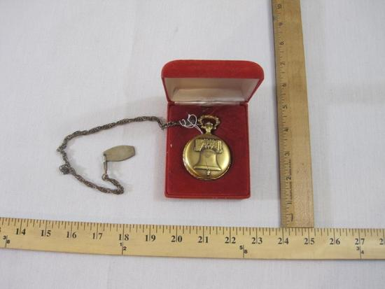 Andre Rivalle 17 Jewels Spirit of '76 Pocket Watch with Liberty Bell and Eagle Designs with case and