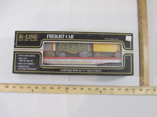 Circus Transport Railroad Classic Flat Car w/ Wagons, O Scale, K-69003, K-Line Electric Trains, new