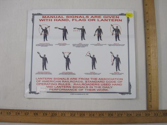 Railroad Lantern Manual Signals Aluminum Sign, sealed, 2002, 4 oz