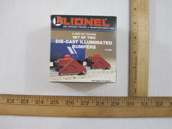 Lionel Set of Two Die-Cast Illuminated Bumpers 6-2283, O & O27 Gauge, new in box, 12 oz