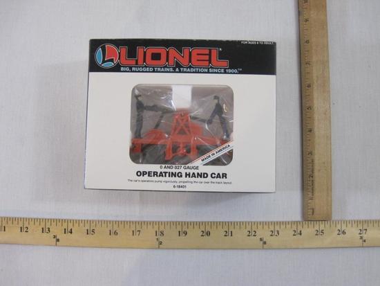Lionel Operating Hand Car 6-18401, O/O-27 Gauge, new in box, 1987 Lionel Trains, 8 oz