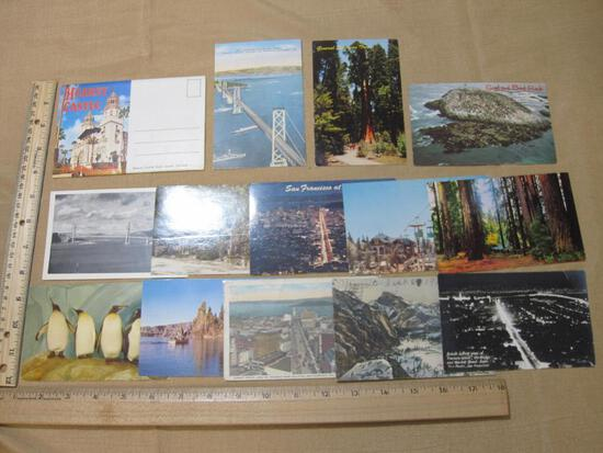 Vintage US postcards from California including Night Views of San Francisco, Yosemite Valley View