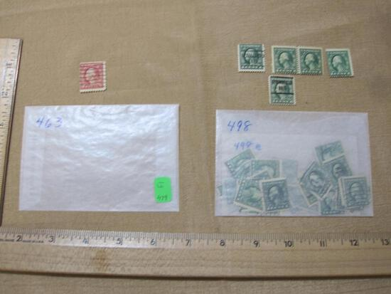 US Postage stamps including 2 Cent George Washington, 1 Cent George Washington mostly cancelled