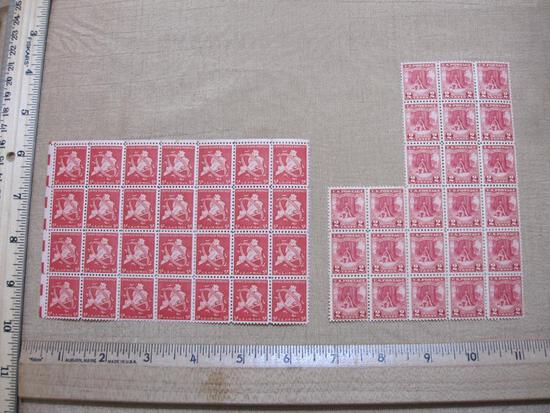 Lot of US Postage Stamps in Two blocks includes 2 Cent Valley Forge, 5 Cent US Air Mail The City of