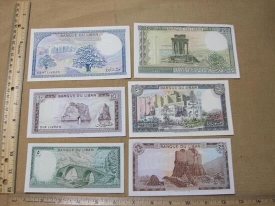 Six Foreign Paper Currency Notes from Lebanon: 5, 10, 25, 50, 100 and 250 Livres