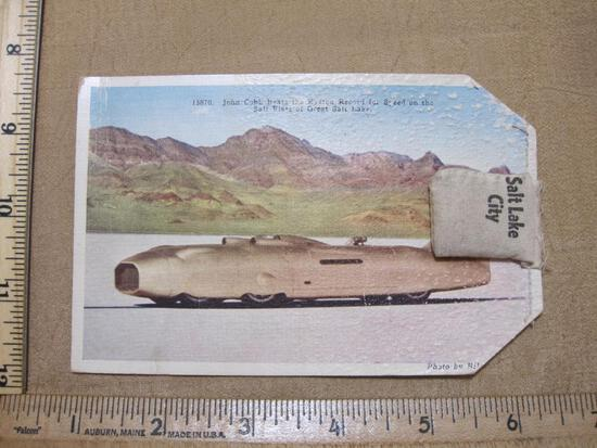 Bonneville Salt Flats Postcard with bag of Salt Flat Sand, see pictures for condition