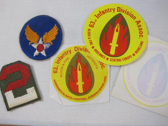 Lot of US Army Stickers and Patches including 63rd Infantry Division Stickers and more, estate of