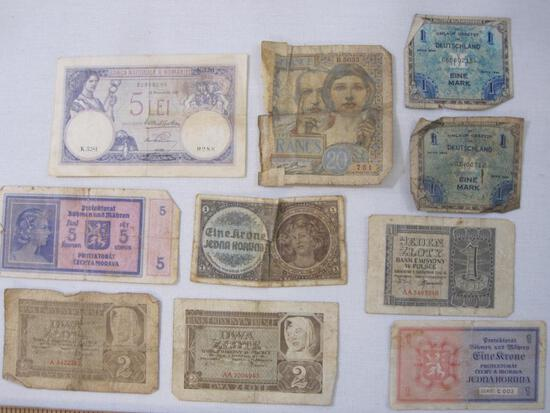 Lot of Vintage European Paper Currency including German 1944 1 Mark, Polish 2 Zeote, and more,